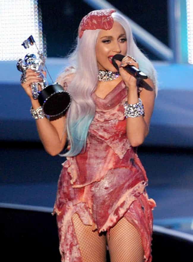 Lady Gaga's Meat Dress is listed (or ranked) 3 on the list The Most Outrageous Outfits Ever Worn to the MTV VMAs
