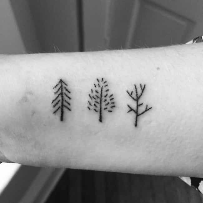 This Tiny Forearm Forest... is listed (or ranked) 1 on the list 33 Rad Stick and Poke Tattoos