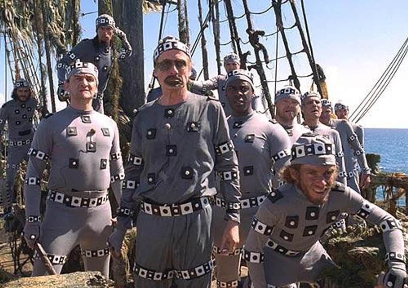 Historical Fact: Pirates Dress is listed (or ranked) 3 on the list 26 Hilarious Photos of Actors Replaced by Digital Effects