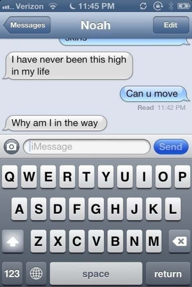 Those Frustrating Moments When is listed (or ranked) 5 on the list 33 Hilarious Stoned Text Messages