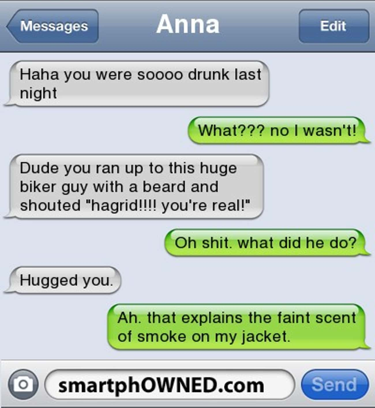 "Yer a Wizard, Harry is listed (or ranked) 3 on the list 20 of the Best ""I Wasn't That Drunk"" Texts"