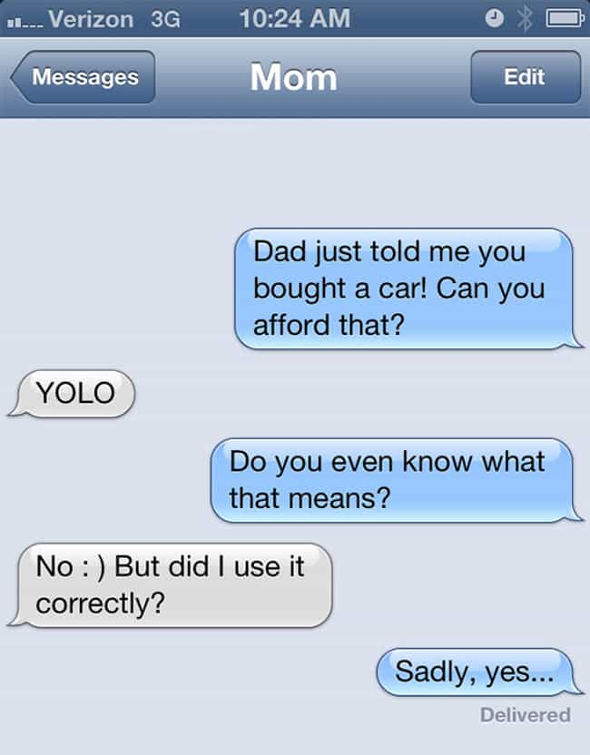 This Mom Totally Nailed Her Fi... is listed (or ranked) 3 on the list 20 Texts From People Going Through a Mid-Life Crisis