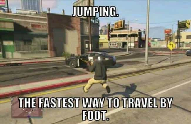 Jumping is listed (or ranked) 1 on the list 30+ Jokes That Make Zero Sense Unless You've Played The Game