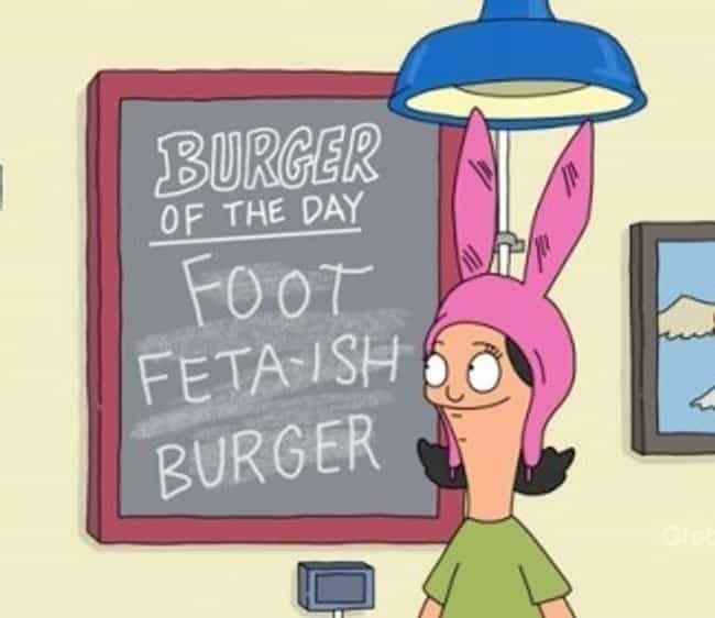 Foot Feta-ish Burger is listed (or ranked) 4 on the list The Funniest Burger Puns on Bob's Burgers