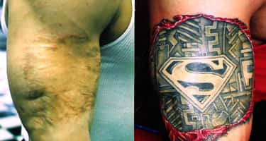 Superman is listed (or ranked) 5 on the list The Coolest Scar Tattoos