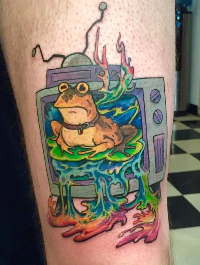 Licking the Hypnotoad is listed (or ranked) 3 on the list 29 Incredible Tattoos Inspired by Futurama