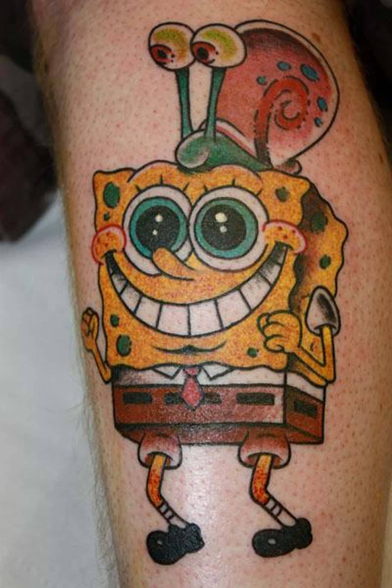 SpongeBob Stoked to Have Gary  is listed (or ranked) 4 on the list 24 Incredible Tattoos Inspired by SpongeBob SquarePants