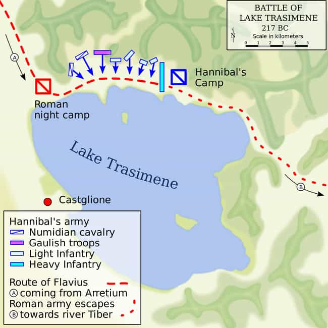 Lake Trasimene, 217 B.C.... is listed (or ranked) 2 on the list The Greatest Deceptions in Military History