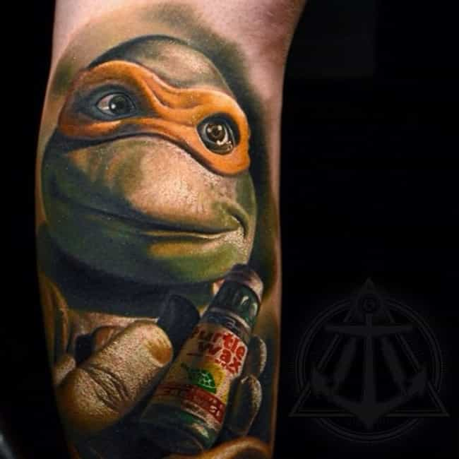 Mikey Is Ready for His Close-U... is listed (or ranked) 1 on the list 26 Awesome Tattoos Inspired by Teenage Mutant Ninja Turtles