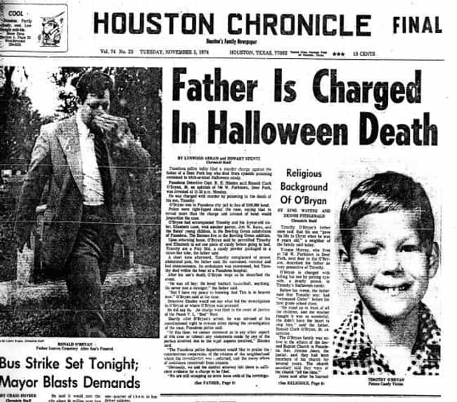 Poisoning of Timothy O'Bryan is listed (or ranked) 1 on the list The Most Horrible Crimes Committed on Halloween