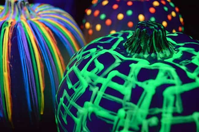 Paint It with Glow in th... is listed (or ranked) 3 on the list Pumpkin Decorating Ideas That Don't Require Carving