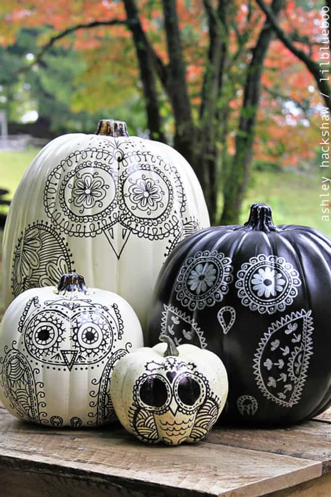 Draw Some Sharpie Design... is listed (or ranked) 1 on the list Pumpkin Decorating Ideas That Don't Require Carving