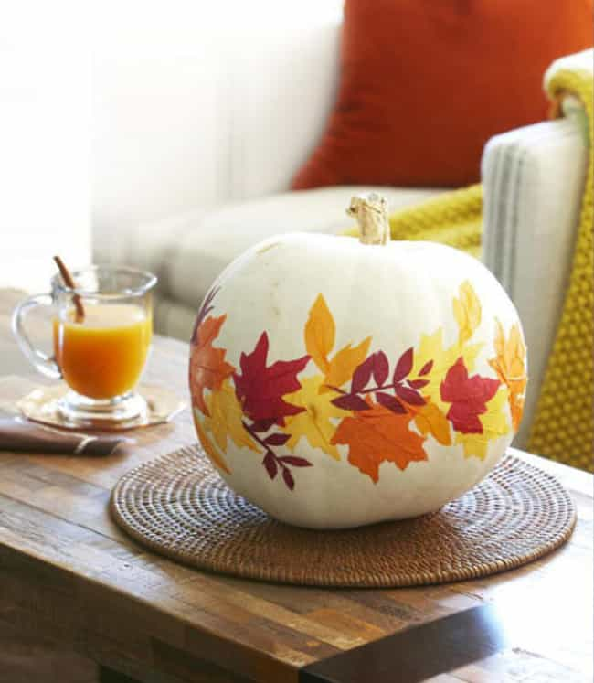 Glue on Some Autumn Leav... is listed (or ranked) 2 on the list Pumpkin Decorating Ideas That Don't Require Carving