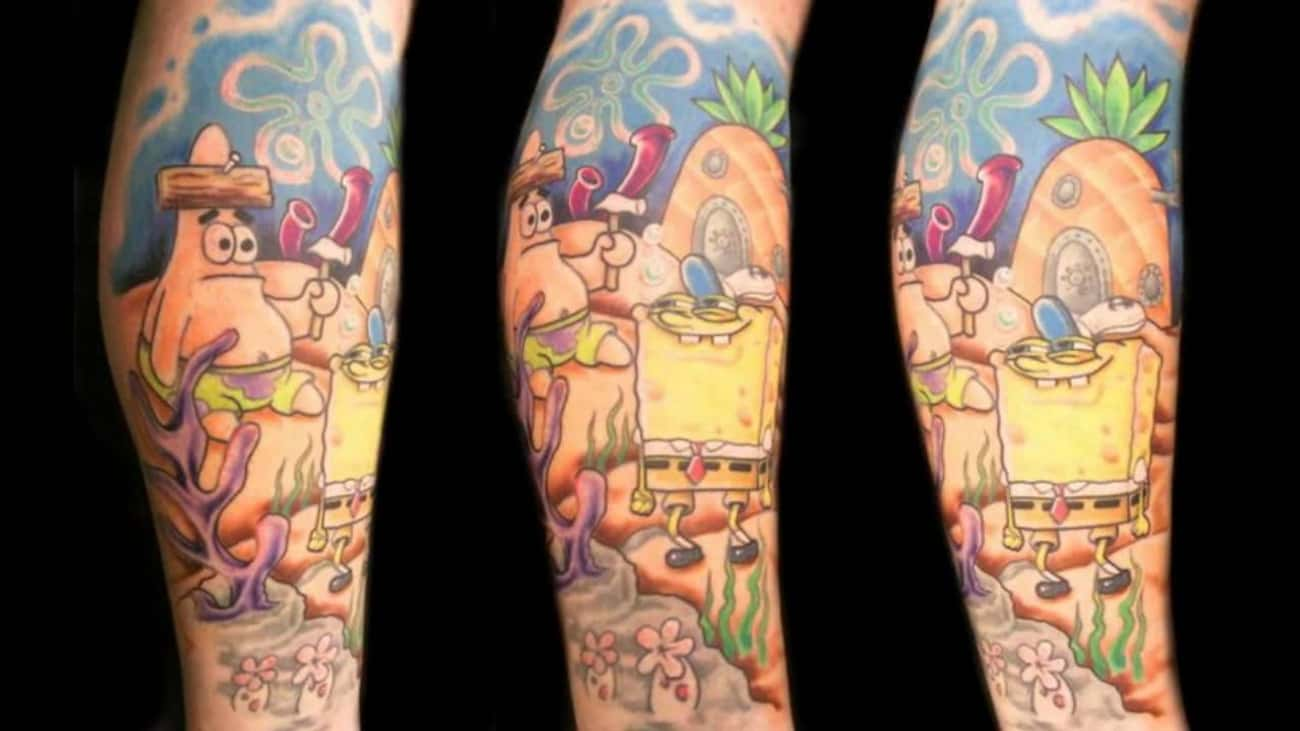 This Awesome Sleeve of a Derpy is listed (or ranked) 3 on the list 24 Incredible Tattoos Inspired by SpongeBob SquarePants
