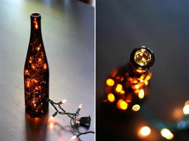Create Decorative Light is listed (or ranked) 3 on the list Things That You Can Do With Old Wine Bottles