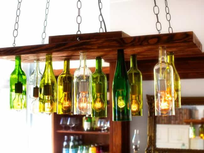 Build a Cool Chandelier is listed (or ranked) 1 on the list Things That You Can Do With Old Wine Bottles