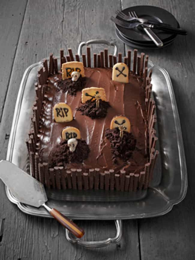 Grave Intentions Cake is listed (or ranked) 4 on the list Creepy Treats You Should Serve This Halloween