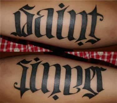 Saint or Sinner? Probably a Bi is listed (or ranked) 6 on the list 18 Awesome Ambigram Tattoos That'll Make You Look Twice