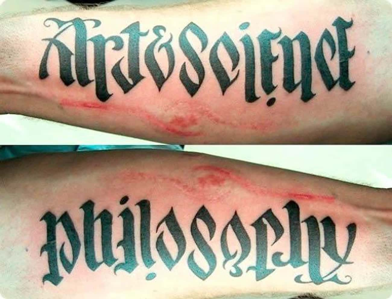 What Makes Up Philosophy? Art  is listed (or ranked) 3 on the list 18 Awesome Ambigram Tattoos That'll Make You Look Twice
