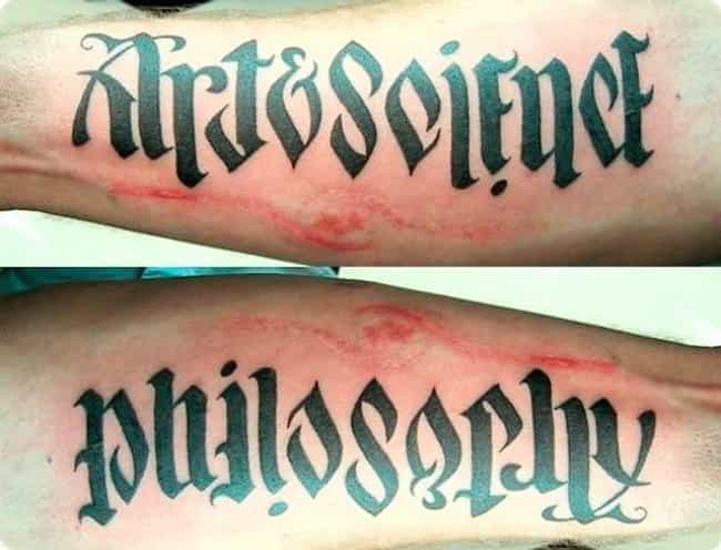 What Makes Up Philosophy? Art ... is listed (or ranked) 4 on the list 18 Awesome Ambigram Tattoos That'll Make You Look Twice