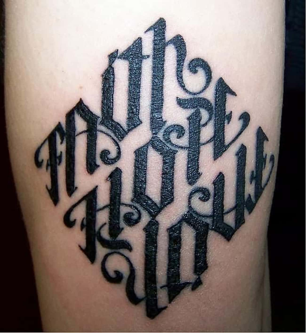 The Rare Triple Ambigram: Fait is listed (or ranked) 2 on the list 18 Awesome Ambigram Tattoos That'll Make You Look Twice