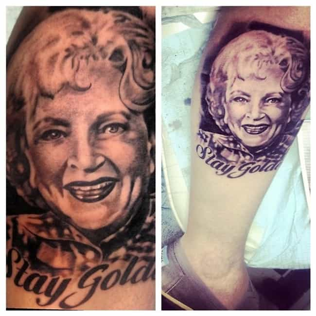 Keep Calm and Betty White is listed (or ranked) 1 on the list 25 Incredible Tattoos Inspired by The Golden Girls