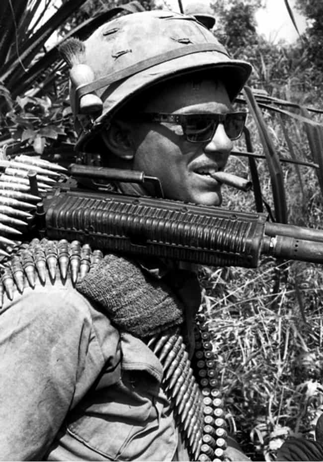 Soldier with an M-60 and... is listed (or ranked) 4 on the list Cool Old School Pictures From Vietnam
