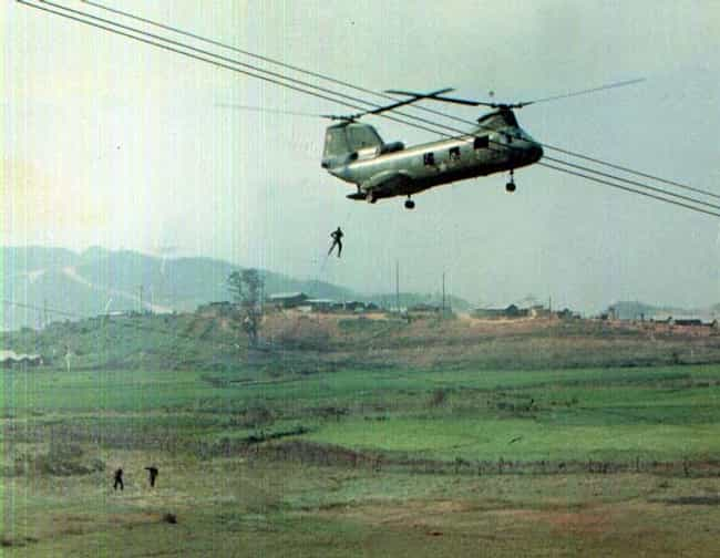 Rappelling Out of a Chinook He... is listed (or ranked) 3 on the list Cool Old School Pictures From Vietnam