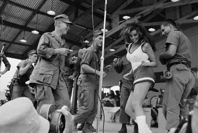 Raquel Welch Performing in Vie... is listed (or ranked) 1 on the list Cool Photos of Celebrities Entertaining the Troops