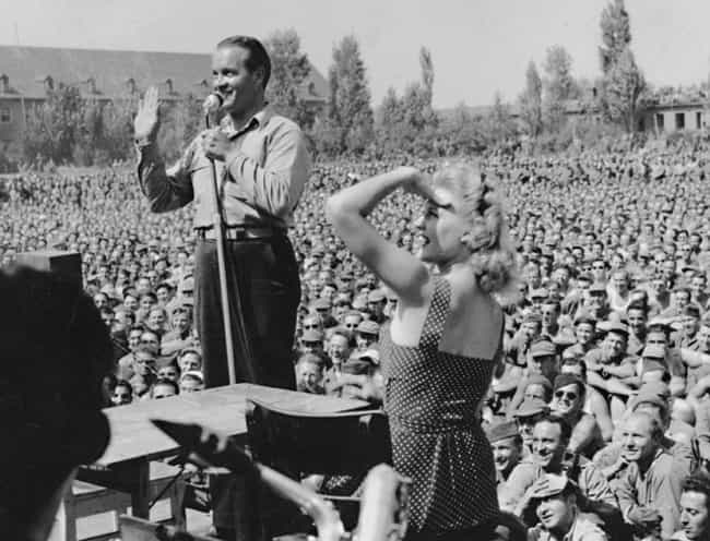 Bob Hope in Germany, 1945 is listed (or ranked) 4 on the list Cool Photos of Celebrities Entertaining the Troops