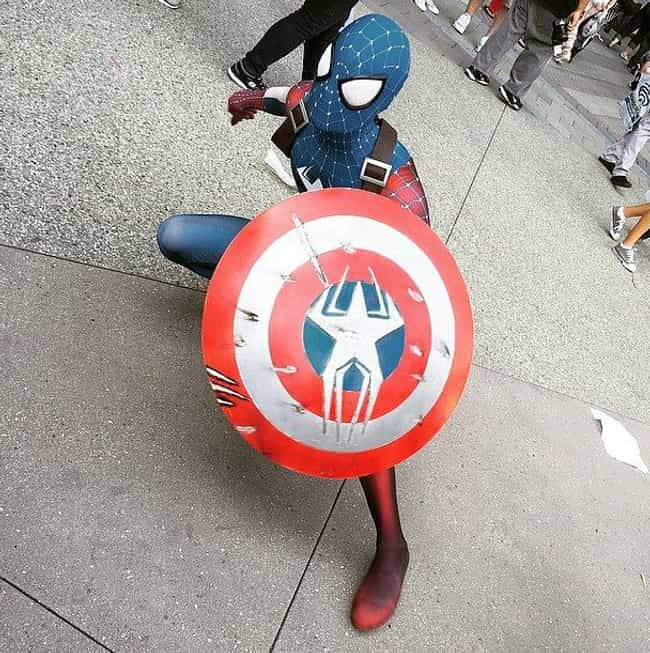 Captain America/Spider Man is listed (or ranked) 1 on the list Creative Crossover Costumes You Should Steal This Halloween