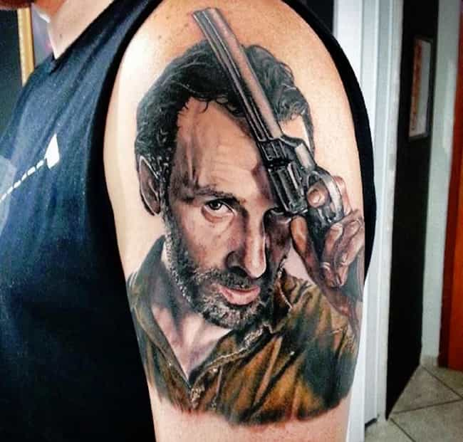 Rick Grimes Looks Ready ... is listed (or ranked) 2 on the list 25 Incredible Tattoos Inspired by The Walking Dead