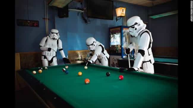 Better Shots with Pool Cues Th... is listed (or ranked) 2 on the list 16 Star Wars Photos That Will Make You Love Stormtroopers