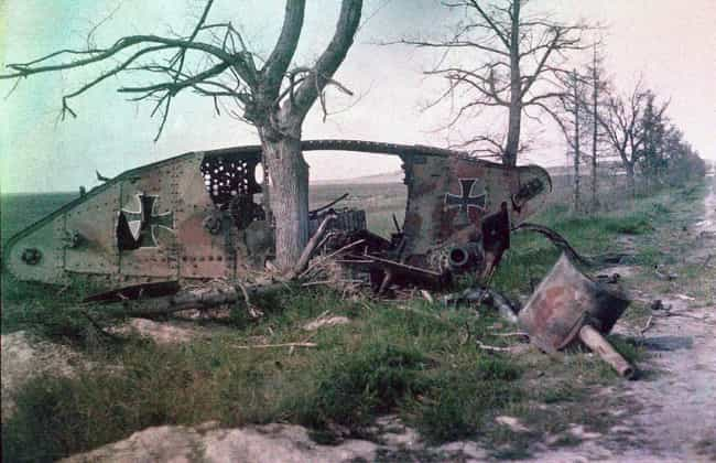 Destroyed German Tank, World W... is listed (or ranked) 4 on the list Colorized Photos from Military History