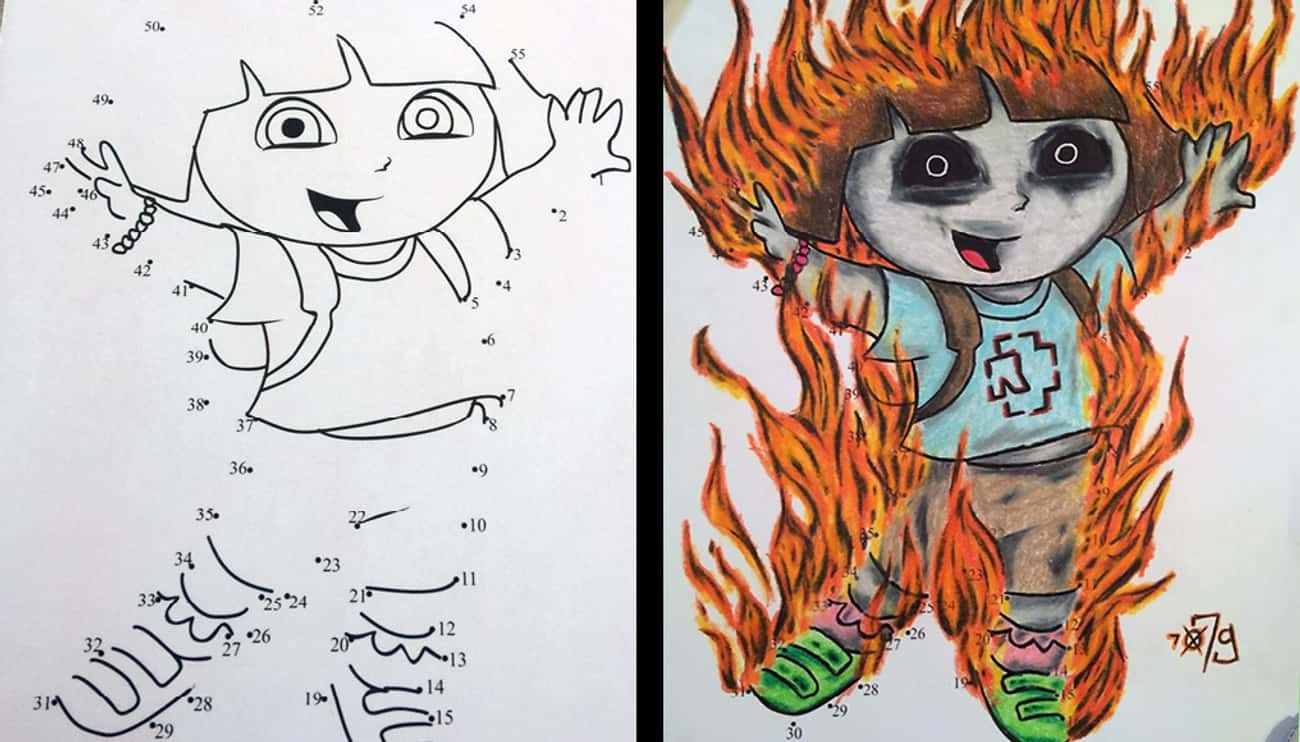 Dora Is On Fire is listed (or ranked) 2 on the list These Coloring Book Corruptions Will Taint Your Childhood