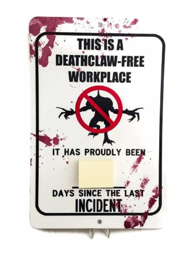 Deathclaw Free Zone Sign is listed (or ranked) 4 on the list 19 Insanely Great Gift Ideas for Fallout Fans