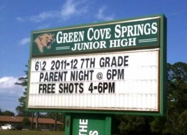 Now THAT'S a Parent Nigh... is listed (or ranked) 4 on the list The Most Hilarious School Signs Ever