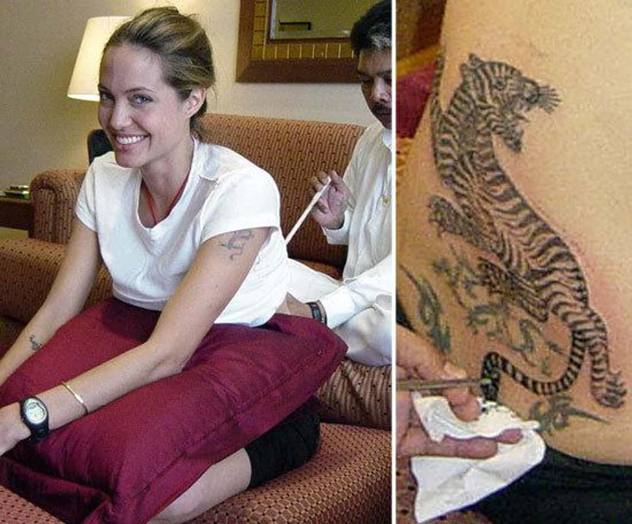 Angelina Jolie is listed (or ranked) 4 on the list 29 Pictures of Celebrities Getting Inked