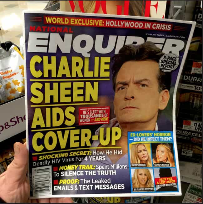 Charlie Sheen AIDS Cover... is listed (or ranked) 1 on the list 17 Times the 'National Enquirer' Broke Real News