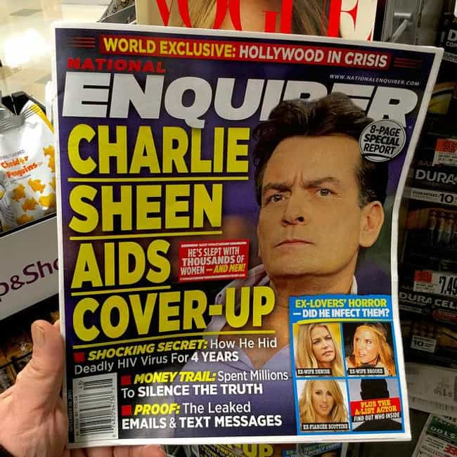 Charlie Sheen AIDS Cover-Up is listed (or ranked) 1 on the list 17 Times the National Enquirer Broke Real News