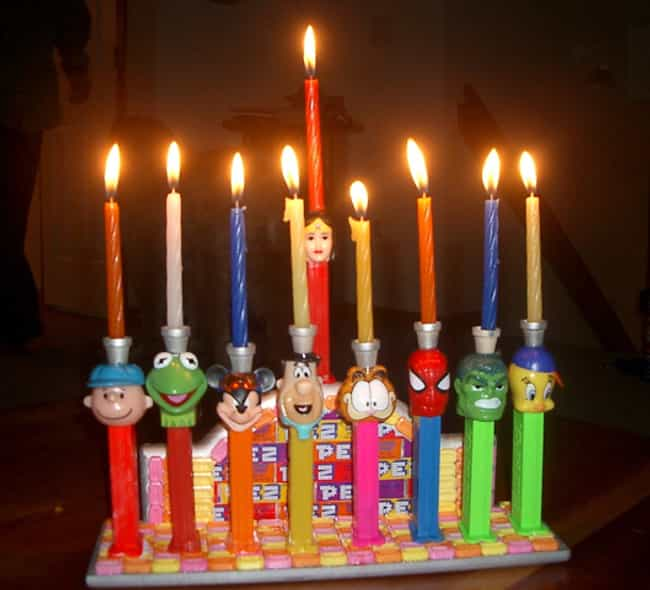 The Pez Collector's Menora... is listed (or ranked) 1 on the list 31 Creative Menorahs That Will Make You LOL