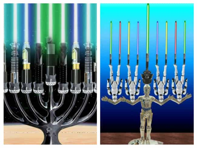 The Star Wars Fan's Menora... is listed (or ranked) 2 on the list 31 Creative Menorahs That Will Make You LOL