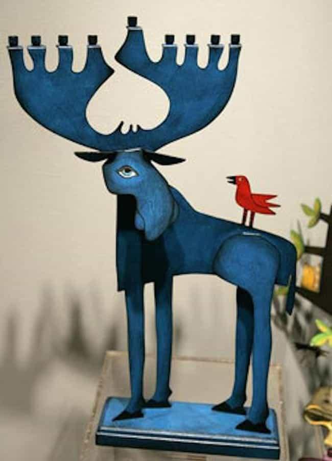 The Big Ass Blue Moose Menorah is listed (or ranked) 4 on the list 31 Creative Menorahs That Will Make You LOL