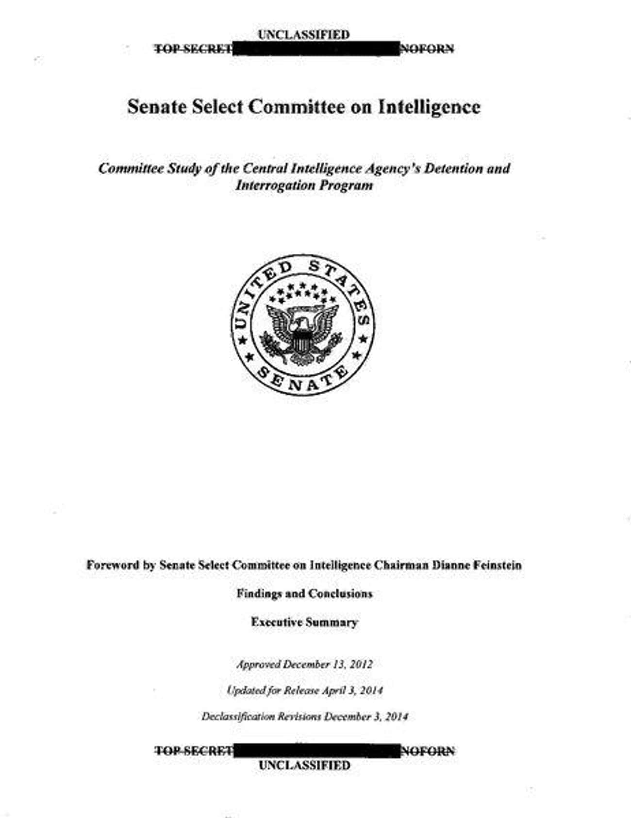 The Senate Intelligence Commit is listed (or ranked) 3 on the list The Biggest, Most Notorious Government Cover Ups Ever