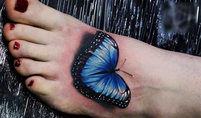 3D Butterfly Foot Tattoo is listed (or ranked) 3 on the list Foot Tattoo Placement Designs and Ideas