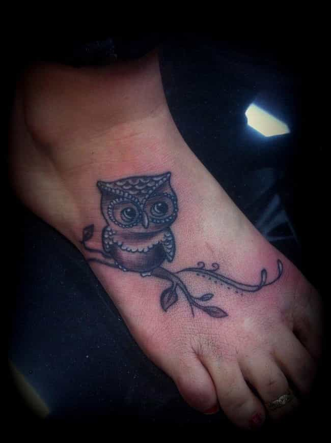 Owl Foot Tattoo is listed (or ranked) 4 on the list Foot Tattoo Placement Designs and Ideas