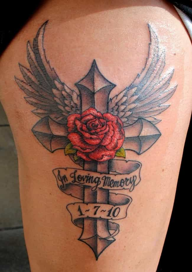 Rose Cross Memorial Tattoo is listed (or ranked) 4 on the list Lovely Ideas for Memorial Tattoos