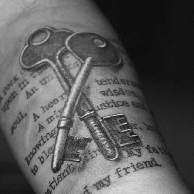 Antique Keys With Poem M... is listed (or ranked) 1 on the list Lovely Ideas for Memorial Tattoos
