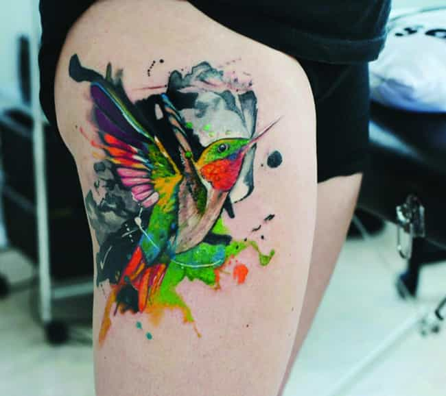 Hummingbird Thigh Tattoo... is listed (or ranked) 2 on the list Lovely Ideas for a Thigh Tattoo