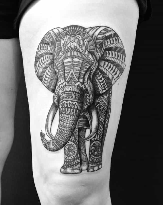 Elephant Thigh Tattoo is listed (or ranked) 3 on the list Lovely Ideas for a Thigh Tattoo
